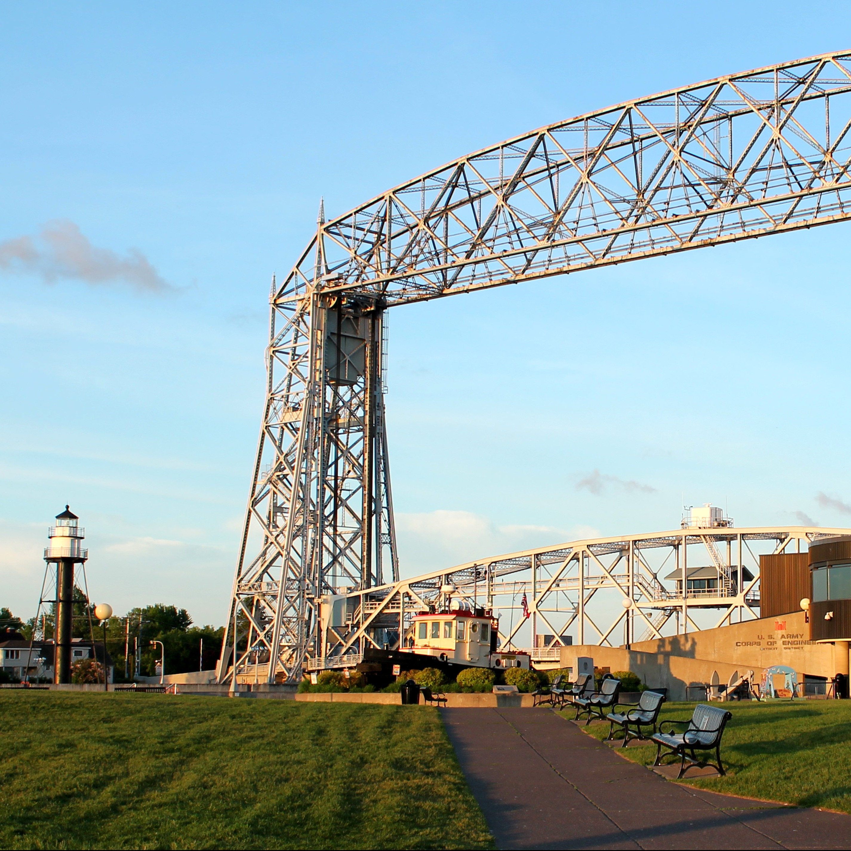 Lake Superior Maritime Visitor Center under lift bridge