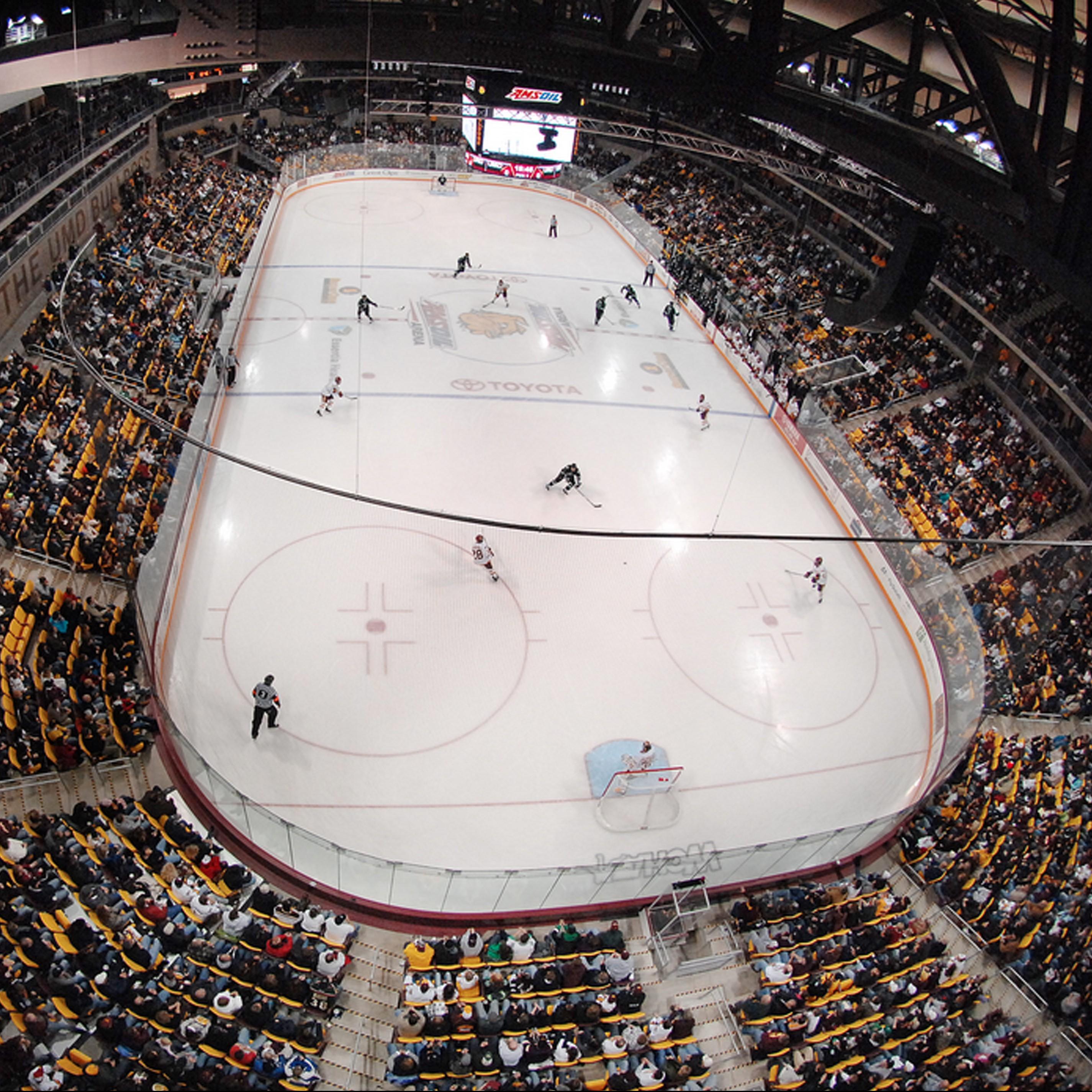 Hockey game inside Amsoil Arena