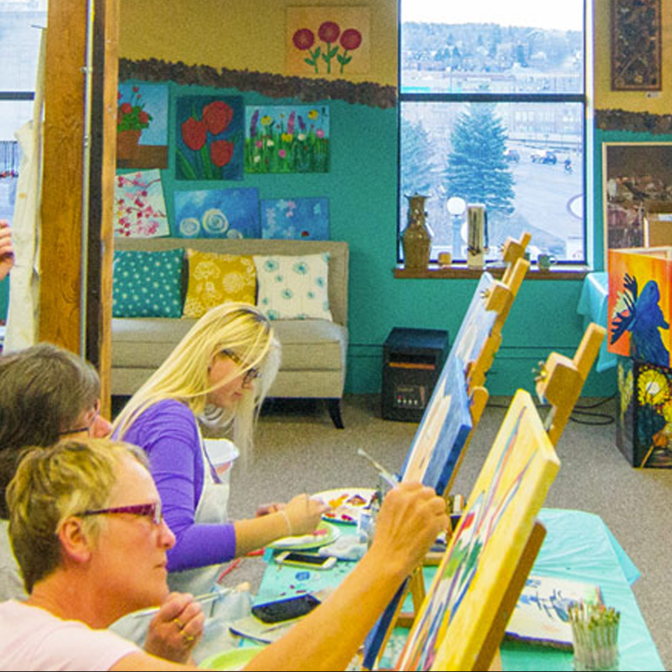 On the Rocks Art Studio group learn to paint class