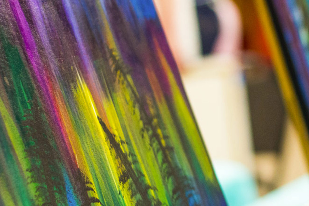 northern lights painting class at on the rocks art studio