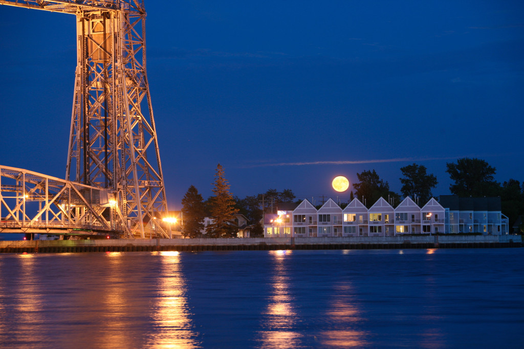 Aerial Lift Bridge at NIght over Lake Superior