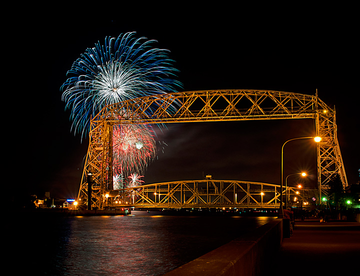 Canal Park, Duluth MN fireworks by the aerial lift bridge