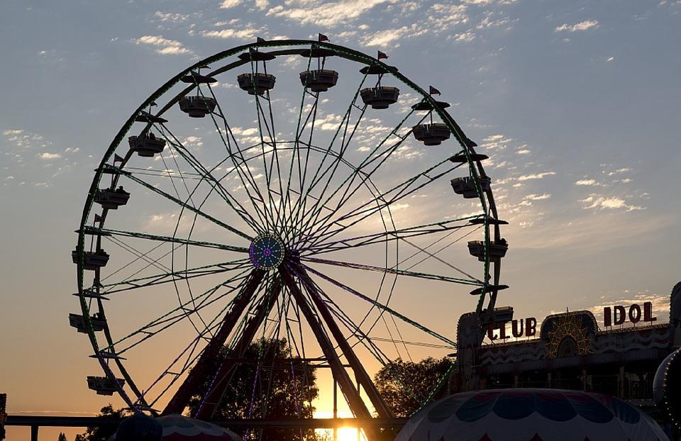 Carnival ferris wheel at sunset