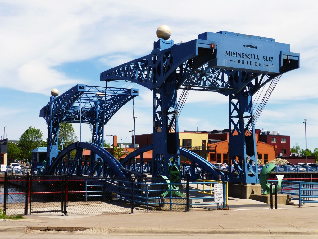 Blue Minnesota Slip Bridge in Canal Park