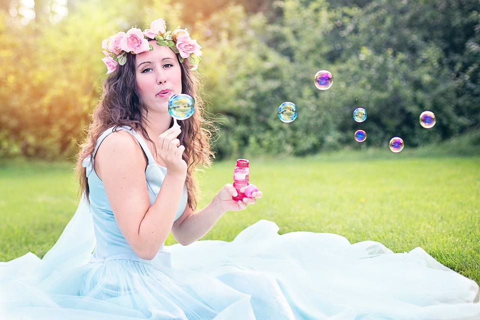 princess blowing bubbles