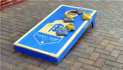 Bean bag toss board and bags at Canal Park Brewing Company