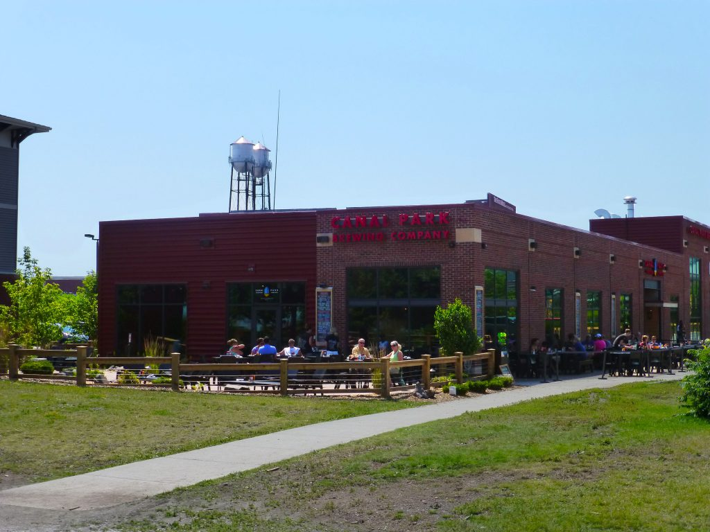 Canal Park Brewing Company outdoor patio by Lake Superior