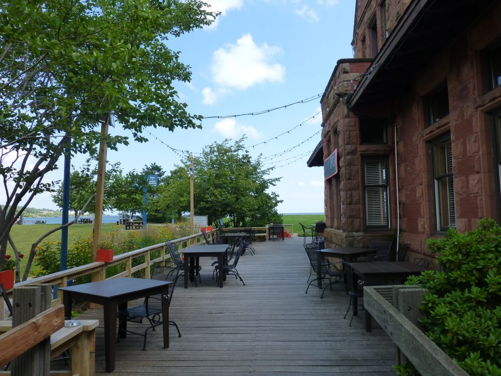 Endion Station outdoor patio by Lake Superior
