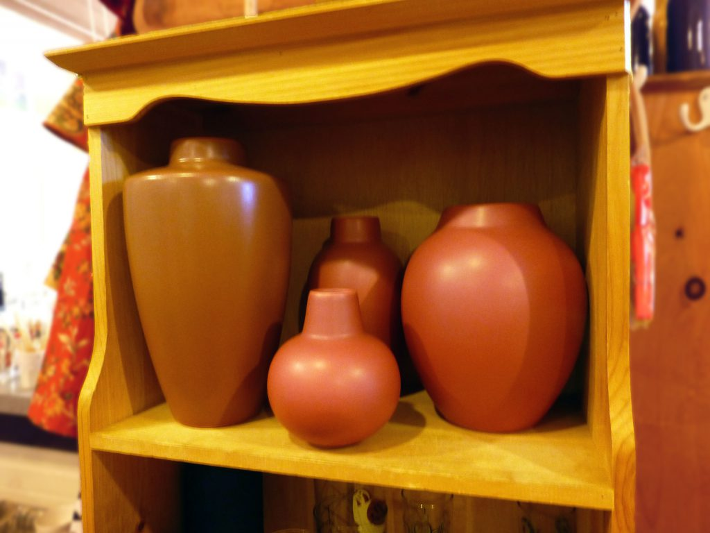 rose colored jars and vases from Blue Heron Trading Co.
