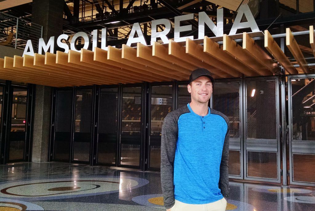 Carson Soucy at Amsoil Arena