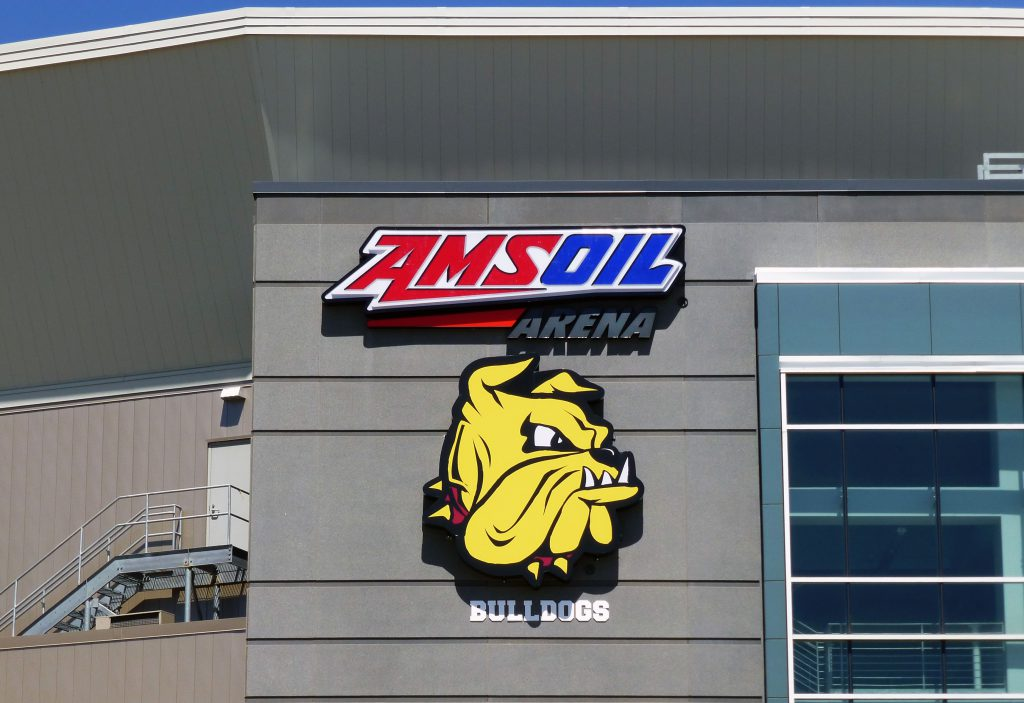 UMD Bulldog logo at Amsoil Arenea