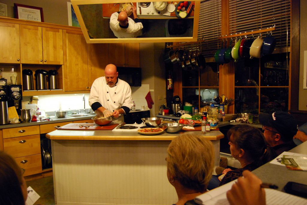 Cooking class as Blue Heron Trading Co. with guest Chef Patrick Moore