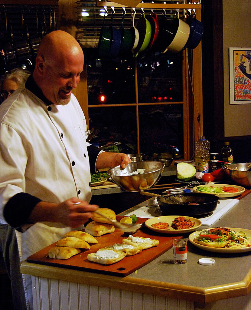 Chef Patrick Moore prepping fresh spicy fish sandwiches