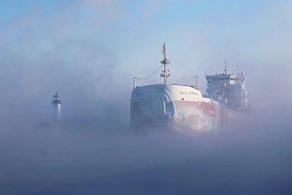Baie Comeau ship in a winter day in Canal Park MN