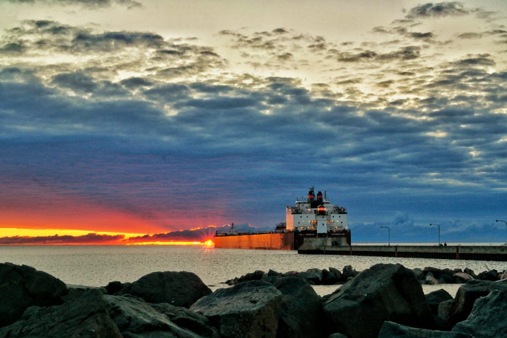 Paul R Tergurtha leaving Canal Park at sunrise
