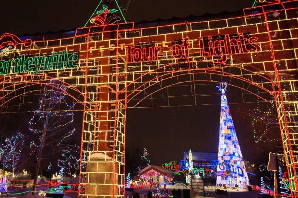 Bentleyville Tour of Lights Castle Entrance Christmas Light Display